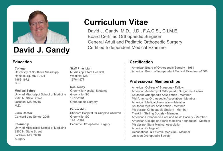 orthopedic surgeon resume
